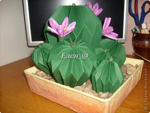 Вот такой кактус расцвел наконец у меня. Идея -не моя. В Хабаровском центре корейского бумажного творчества, которым руководит Софья Николаевна Баланюк я увидела другой кактус фото 14