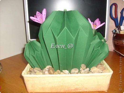 Вот такой кактус расцвел наконец у меня. Идея -не моя. В Хабаровском центре корейского бумажного творчества, которым руководит Софья Николаевна Баланюк я увидела другой кактус фото 16