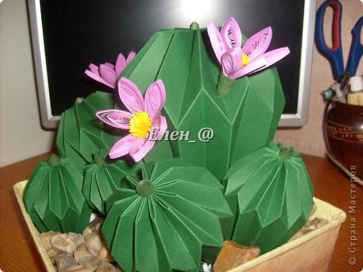 Вот такой кактус расцвел наконец у меня. Идея -не моя. В Хабаровском центре корейского бумажного творчества, которым руководит Софья Николаевна Баланюк я увидела другой кактус фото 15