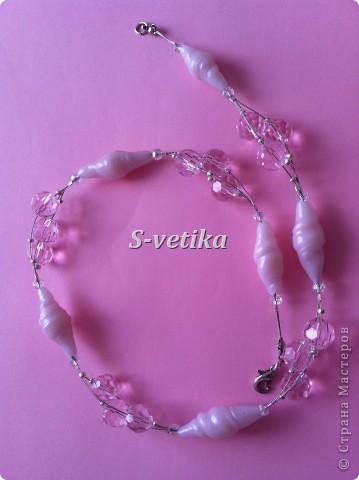 """Набор """"Розовый лед"""".  Бусины-сосульки лепила сама из термопластики+ бусины из хрусталя фото 1"""