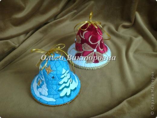 Рождественские колокольчики (из ткани и пенопласта) фото 2