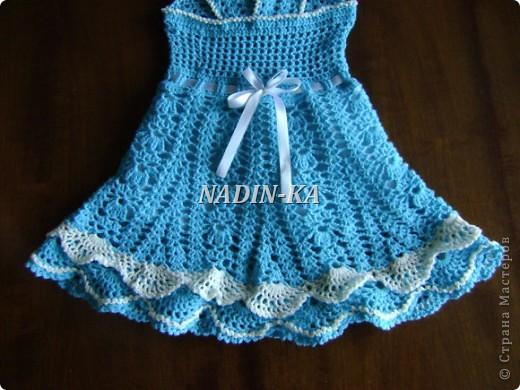 Здравствуйте, Мастерицы! Как ни странно, но это мое первое детское платье. Спасибо всем, кто показывает свои работы. Они послужили мне источником вдохновения.  Такое платьице я связала знакомой девчушке на день рождения. фото 11