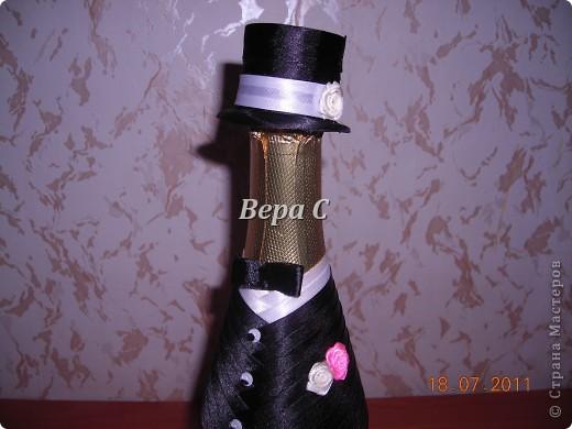 Благодаря здесь описанию, как делаются свадебные бутылки https://stranamasterov.ru/node/209850?c=favorite , я смогла  сотворить такое чудо на заказ. фото 3