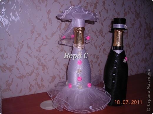 Благодаря здесь описанию, как делаются свадебные бутылки https://stranamasterov.ru/node/209850?c=favorite , я смогла  сотворить такое чудо на заказ. фото 1