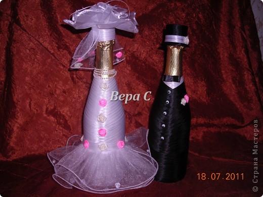 Благодаря здесь описанию, как делаются свадебные бутылки http://stranamasterov.ru/node/209850?c=favorite , я смогла  сотворить такое чудо на заказ. фото 7