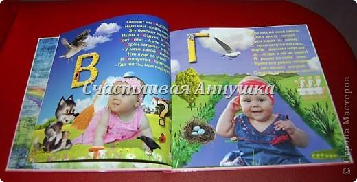 Азбука, на страницах которой, помимо привычных картинок и букв, ещё и сам малыш. Так изучать буквы гораздо интереснее!   В азбуке 32 красочных страницы, на обложке также фото ребенка.   Пример разворота: фото 1