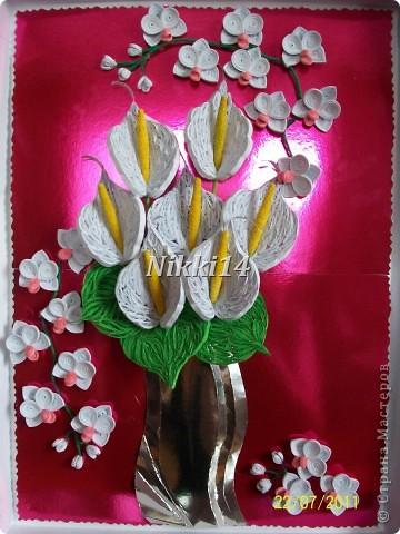 Попробовала и себе сделать каллы и орхидеи как у Ольги Ольшак http://stranamasterov.ru/node/212113#comment-1929773 получилось или нет судить вам. Эта картинка еще без рамочки. фото 1