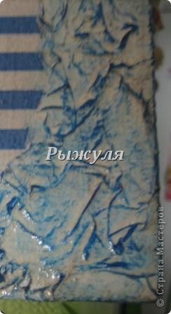 Панно в морской тематике, по краю салфетка с ПВА фото 2