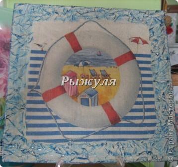 Панно в морской тематике, по краю салфетка с ПВА фото 1