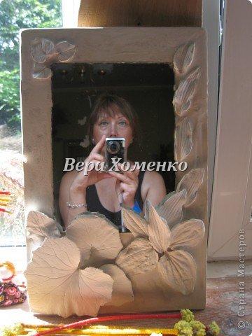 Очень вдохновили меня листочки Alevtinushka. Благодаря этому возникла идея оформить дачное зеркало гипсовыми листьями. фото 9