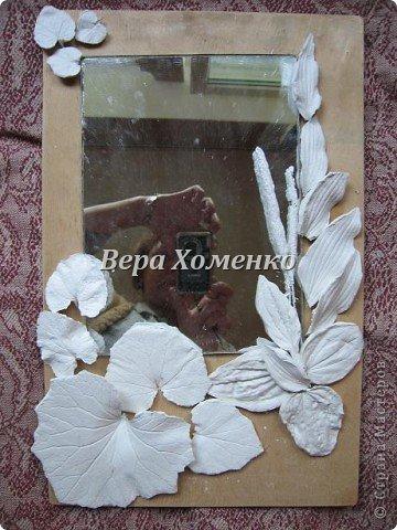 Очень вдохновили меня листочки Alevtinushka. Благодаря этому возникла идея оформить дачное зеркало гипсовыми листьями. фото 2
