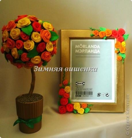 """Вот такая рамочка получилась. Розы и листья лепила из массы для моделирования """"Игро форм"""" и """"Оранжевый слон"""". фото 2"""