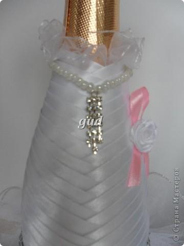 Декор предметов Мастер-класс Свадьба Аппликация Свадебные бутылочки и МК Ленты фото 21