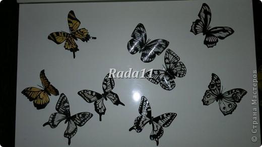 Бабочки вырезанны из пластиковых бутылок и раскрашены лаком для ногтей.