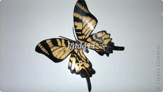 Бабочки вырезанны из пластиковых бутылок и раскрашены лаком для ногтей. фото 3