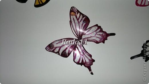 Бабочки вырезанны из пластиковых бутылок и раскрашены лаком для ногтей. фото 5
