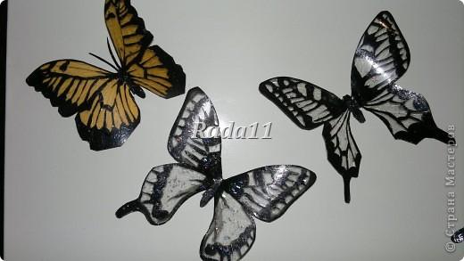 Бабочки вырезанны из пластиковых бутылок и раскрашены лаком для ногтей. фото 6