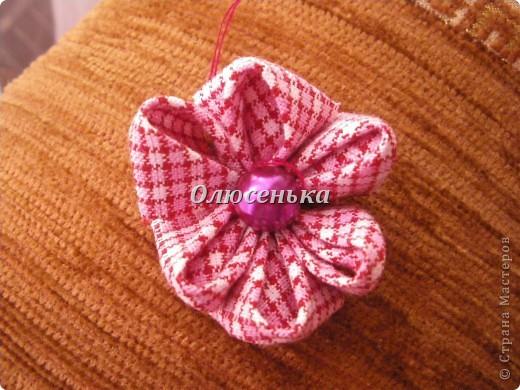 """Мои начинания работы с лентами и тканью """"Бабочки-цветочки"""" фото 3"""