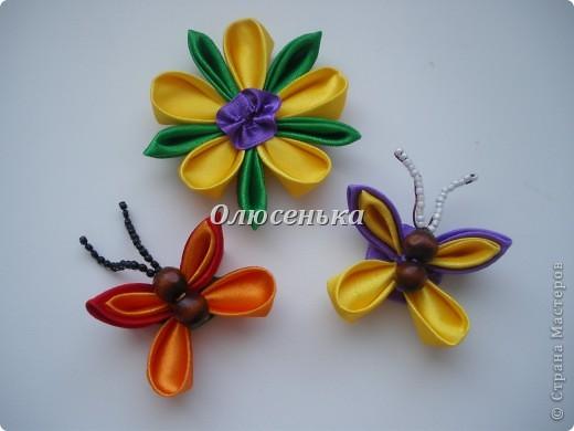 """Мои начинания работы с лентами и тканью """"Бабочки-цветочки"""" фото 1"""