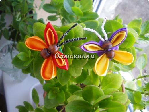 """Мои начинания работы с лентами и тканью """"Бабочки-цветочки"""" фото 4"""