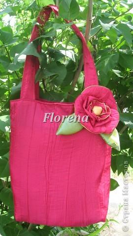Сочная сумка из тафты .И на ней тоже-цветок.Ну люблю я их-страсть как!!!! фото 1