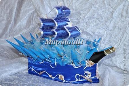 """Букет из конфет """"Фрегат синий"""" фото 1"""