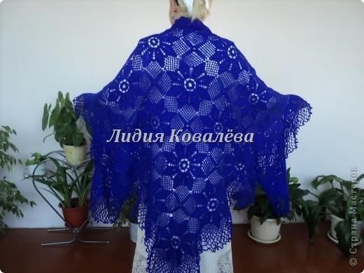 Вот ещё одна шаль, на этот раз синяя) фото 3