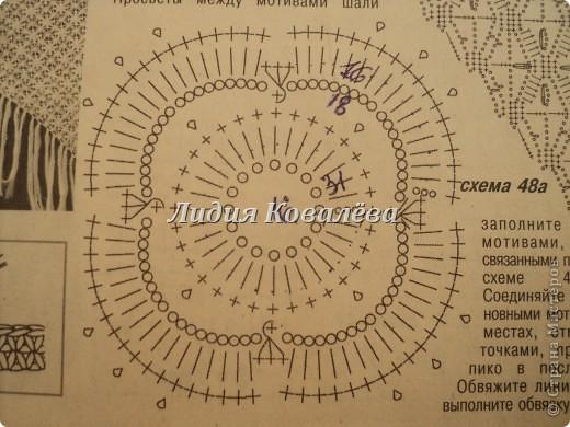 Гардероб Вязание крючком Белая шаль+схема Пряжа фото 5