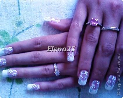Увлеклась недавно росписью ногтей. Оцените творчество начинающего художника росписи по ногтям.  Ноготки невесты. фото 1