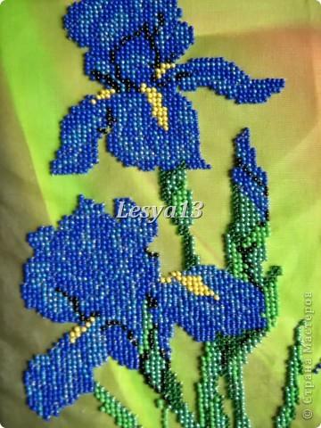 Моя первая частичная вышивка бисером. Фон очень интересный, с эффектом масляной живописи.  фото 1