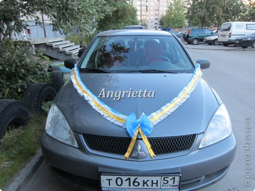 Свадебное украшение на машину фото 2