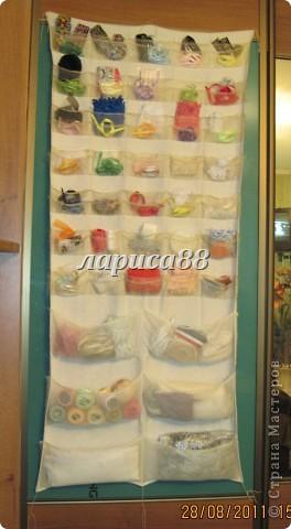 Органайзер для ленточек,кружева и разных швейных мелочей очень удобно разместился на внутренней стороне дверки шкафа. фото 1