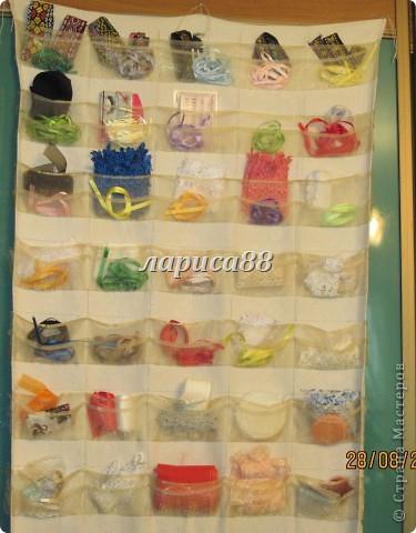 Органайзер для ленточек,кружева и разных швейных мелочей очень удобно разместился на внутренней стороне дверки шкафа. фото 2