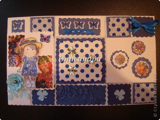"""Не отпускает меня """"Тильдомания""""... Но делать открытки-стойки уже надоело, хотя они мне очень нравятся... Рискнула сделать что-то другое... Понравилась такая форма...Похожа на гармошку... Впервые увидела ее в блоге у Голубки  http://stranamasterov.ru/node/159818?t=311   , но тогда я и представить себе не могла, что увлекусь открытками и скрапом... У Голубки есть ссылка на этот МК http://scrapmania.moy.su/forum/32-293-1 Я нашла еще один...   http://www.liveinternet.ru/users/4443300/post181848694 Если захотите сделать, выберите тот, что Вам больше подходит... Сделала уже не одну открытку, а мучаюсь каждый раз, будто делаю впервые... Страшно сказать...На одну открытку уходит 5-8 часов... Вот, такая я копуша... И как меня еще терпят дома!!! Не понимаю... Думаю, что необходимо сформировать в голове какие-то свои """"шаблоны"""" и тогда процесс пойдет быстрее, а для этого надо сделать еще очень много открыток, АТСок и т.д. и т.п... И все это ради одной """"великой"""" цели... СКРАП-АЛЬБОМА для фото... фото 19"""