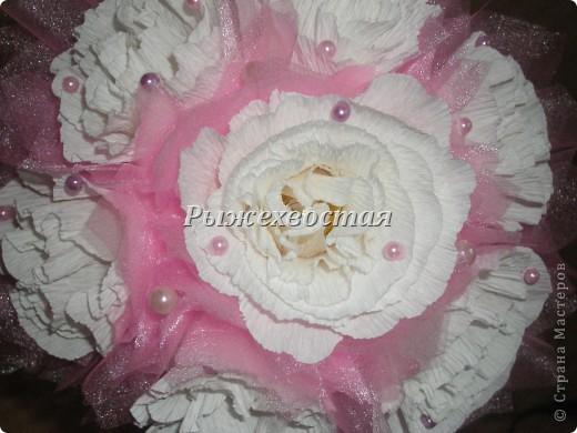 Привет всем, кто заглянул! Такой букет я уже делала на шоколадную свадьбу. Теперь он в розовом цвете....... фото 3