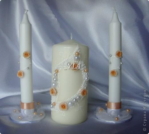 Набор свечей для разжигания семейного очага в дополнение к бокалам, также по примеру работ Anastasia. Ну очень тяжело со свечами работать. Надеюсь ничего не отвалится в самый неподходящий момент))) фото 1
