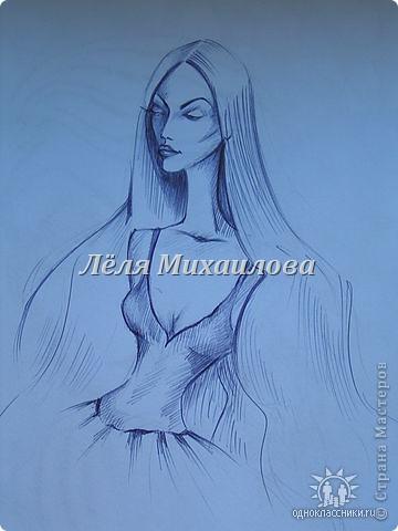 Эти рисунки были сделаны мной еще в 2009 году, но мне захотелось их Вам показать. Рисовала шариковой ручкой. Идея была таковой: портрет женщины, но нереальной, космической, таинственной. Судить Вам получилось или нет. фото 3