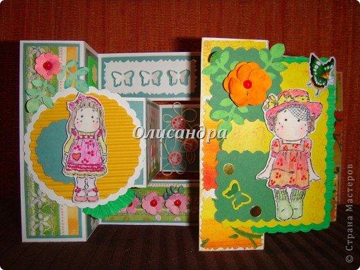 Очень нравится такая форма открытки...  Здесь можно посмотреть ,как это делается...   http://stranamasterov.ru/node/233169  , там ссылочки на МК ... А я решила, что больше делать такие не буду... Уже хочется чего-то новенького... фото 13