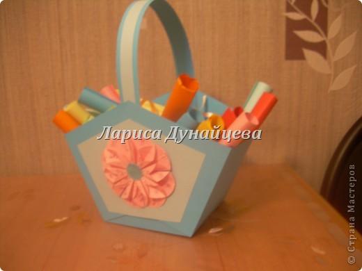 вот такую корзиночку с пожеланиями я решила сделать подруге на День Рожденье вместо открытки. А идею подглядела здесь http://stranamasterov.ru/node/48044?c=favorite фото 6