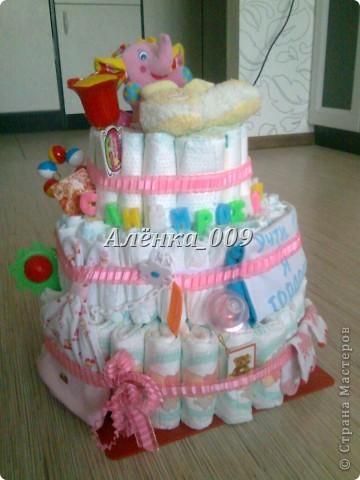 идею торта посмотрела здесь на сайте....но случия не было чтоб подарить ....а тут у меня сестренка родилась.....)))  торт всем очень понравился ,а мама даже расплакалась...