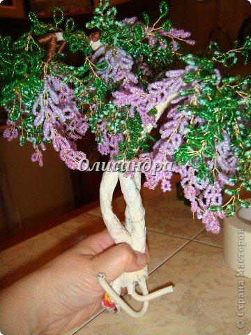 """Мне очень нравятся глицинии...  Глици́ния (от греч. γλυκός — сладкий), или висте́рия (лат. Wistéria) — род высоких древовидных вьющихся субтропических растений из семейства Бобовые с крупными кистями душистых лиловых цветков. Широко используется в ландшафтном дизайне.   Давно мечтала сделать такое дерево из бисера, но не могла решиться... Теперь понимаю, что это было не с проста... Глициния- безумно трудоемкое и """"долгоиграющее"""" дерево... ,и если бы я делала его для себя, то процесс создания занял бы не один месяц... по чуть-чуть... не спеша... Но я делала его в подарок , поэтому времени было очень мало... Каждый день вспоминала Золушку и рабыню Изауру..., жалела себя и в голове крутилось только одно слово... """"кошмар""""...Как я могла в это вписаться?  И все-таки, я его сделала... и назвала """"Кошмариком""""...  Если еще не очень вас напугала и вы хотите повторить мой """"подвиг""""... , рассказываю, как это было... фото 36"""