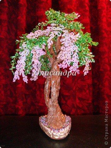 """Мне очень нравятся глицинии...  Глици́ния (от греч. γλυκός — сладкий), или висте́рия (лат. Wistéria) — род высоких древовидных вьющихся субтропических растений из семейства Бобовые с крупными кистями душистых лиловых цветков. Широко используется в ландшафтном дизайне.   Давно мечтала сделать такое дерево из бисера, но не могла решиться... Теперь понимаю, что это было не с проста... Глициния- безумно трудоемкое и """"долгоиграющее"""" дерево... ,и если бы я делала его для себя, то процесс создания занял бы не один месяц... по чуть-чуть... не спеша... Но я делала его в подарок , поэтому времени было очень мало... Каждый день вспоминала Золушку и рабыню Изауру..., жалела себя и в голове крутилось только одно слово... """"кошмар""""...Как я могла в это вписаться?  И все-таки, я его сделала... и назвала """"Кошмариком""""...  Если еще не очень вас напугала и вы хотите повторить мой """"подвиг""""... , рассказываю, как это было... фото 61"""