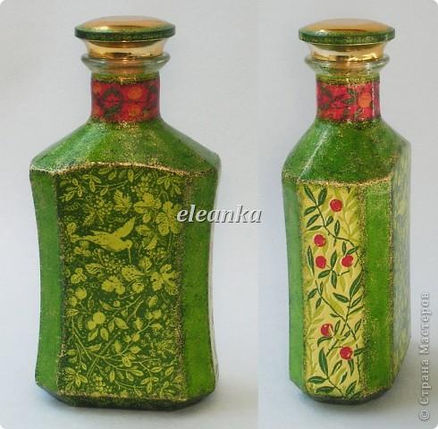 Бутылка от Шабо плюс хорошо известная салфетка. Декупаж, фон акриловыми красками, лак. фото 3