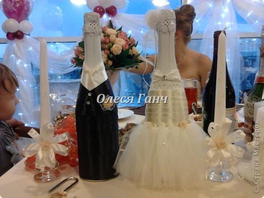 Свадебный набор: бутылки, свечи, бокалы фото 1