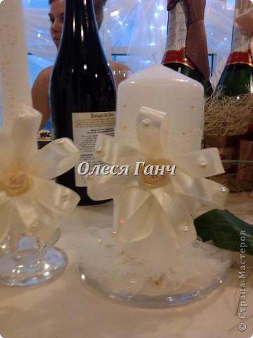 Свадебный набор: бутылки, свечи, бокалы фото 3