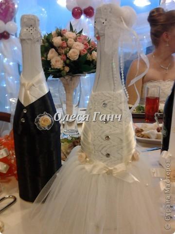 Свадебный набор: бутылки, свечи, бокалы фото 2