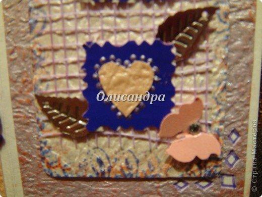 В подарок сделала сиреневое дерево  http://stranamasterov.ru/node/240655 и решила, что открытка должна быть в таких же тонах... Раньше делала открытки из подручного материала... Дала себе такую установку, пока не научусь...   Еще не научилась, но все-таки, зашла в магазин и слегка разорилась... фото 12