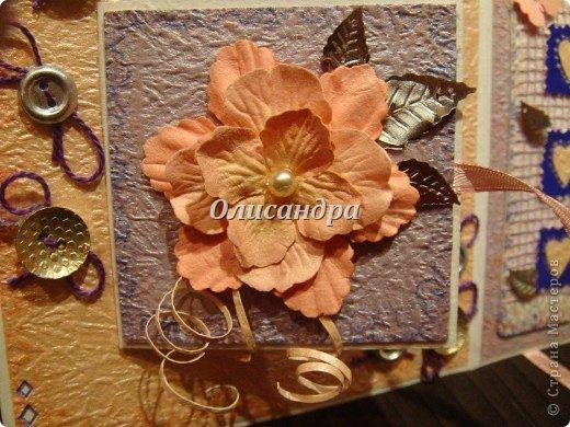 В подарок сделала сиреневое дерево  http://stranamasterov.ru/node/240655 и решила, что открытка должна быть в таких же тонах... Раньше делала открытки из подручного материала... Дала себе такую установку, пока не научусь...   Еще не научилась, но все-таки, зашла в магазин и слегка разорилась... фото 3