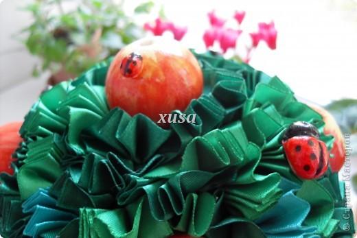 Так понравилось дерево из лент моим гостям, что пришлось еще одно делать, это решила сделать традиционно уже для меня с яблоками, но как мне кажется тоже очень не плохо! фото 4