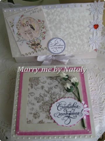 Здравствуйте, дорогие мастерицы! Выставляю на ваш суд свою новую работу-коробочку для денег и открытку для свадьбы. фото 1